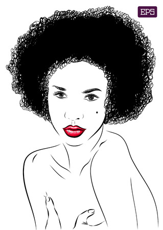 african woman hair: afro woman vector portrait on a background. EPS illustration