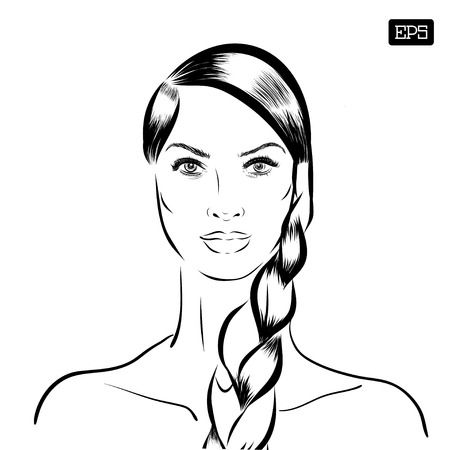 tress: Woman vector portrait on a background. EPS