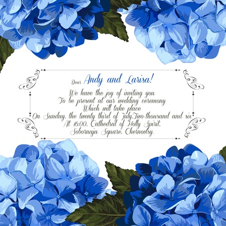 holidays for couples: Wedding invitation with hydrangea for your design. Vector EPS