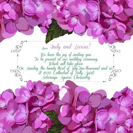 Invitation de mariage avec l'hortensia pour votre conception. Vector EPS Banque d'images - 39808573