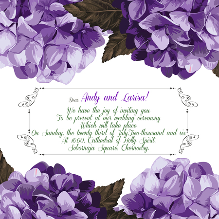 Wedding invitation with hydrangea for your design. Vector EPS Vector