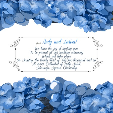 Wedding invitation with hydrangea for your design. Vector EPS