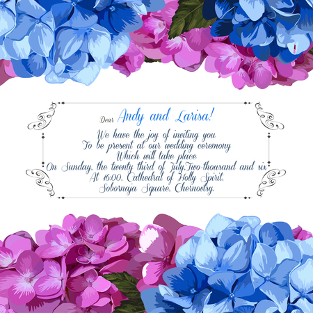 Wedding invitation with hydrangea for your design. Vector EPS Vector