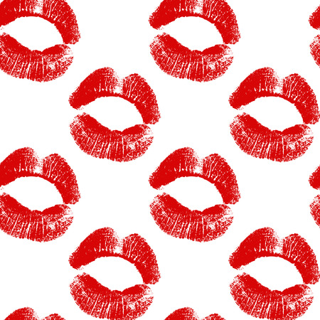 smooch: Vector seamless background. Red lips prints. EPS Illustration