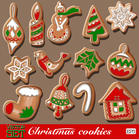 merry chrismas: Colorful cookies set pattern on a blue background. Vector illustration. Illustration