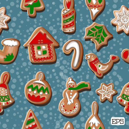christmass tree: Colorful cookies frame seamless pattern background. Vector illustration. Illustration