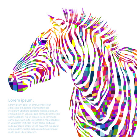 Animal watercolor illustration silhouette zebra. Vector illustration