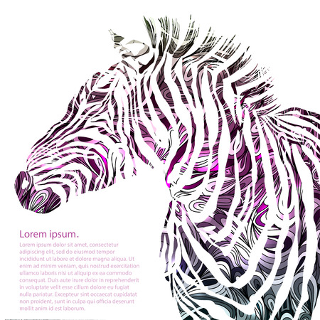 underlying: Animal watercolor illustration silhouette zebra. Vector illustration