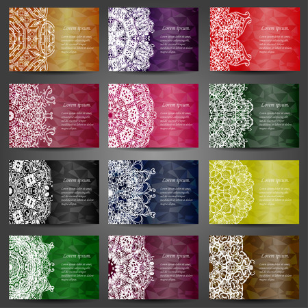 india pattern: Set retro business card. Vector background. Card or invitation. Vintage decorative elements. Hand drawn background. Islam, Arabic, Indian, ottoman motifs.
