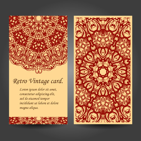 Set retro business card. Vector background. Card or invitation. Vintage decorative elements. Hand drawn background. Islam, Arabic, Indian, ottoman motifs. Vector