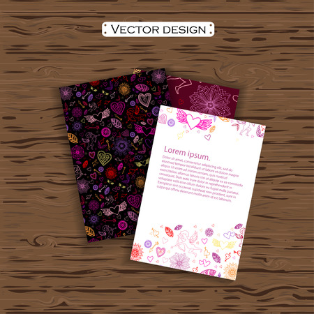amur: Set of four valentines day business cards on a background. Vector