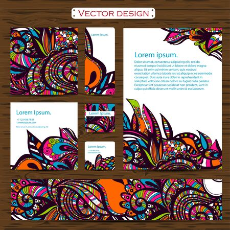 doddle: Set of 7 doddle ornamental business cards on a background.