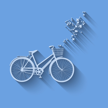 simbol: Bicicletta vettore simbol con fiori su uno sfondo.