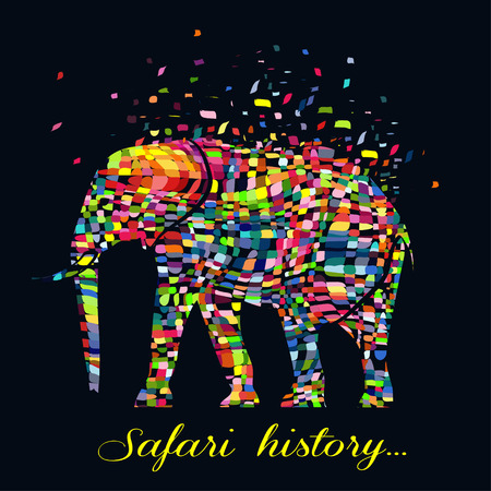 Vector illustration of a abstract elephant animal  in graphic style.