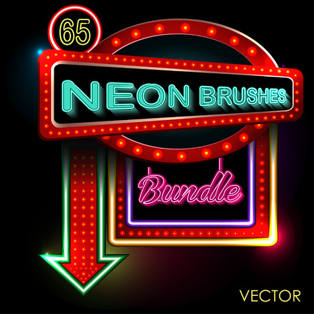 Open Neon Sign for hotel. On a black background. Vector EPS illustration. Illustration
