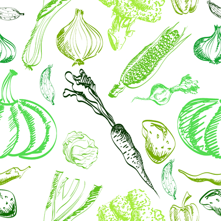 peper: Hand drawn vegetables set on a background. Vector EPS.