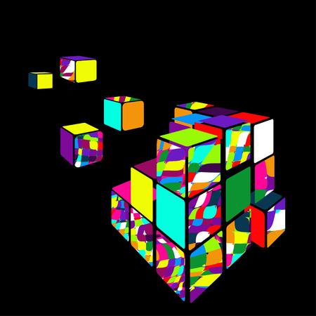 Rubik cube 3D vector with black background. Vector illustration. EPS Vector Illustration