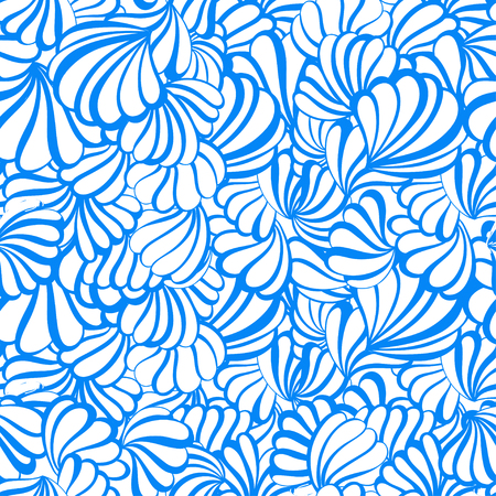 seashell: sea shell vector seamless pattern on a white background. EPS