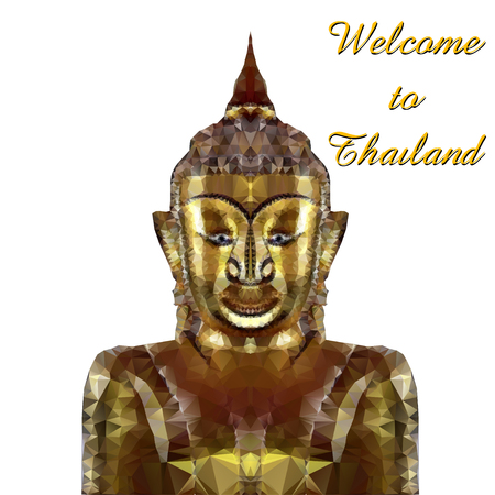 thai buddha: thai gold  buddha meditation on a white background. Vector EPS Illustration
