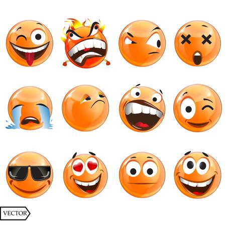 Vector illustration set of cool glossy Single Emoticons on a background. EPS Illustration
