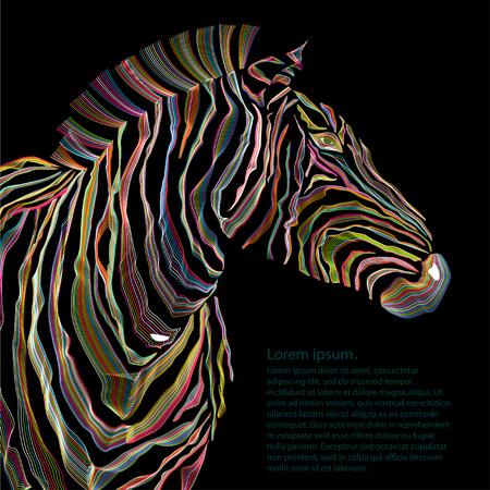 Animal illustration of vector zebra silhouette. EPS Vector Illustration