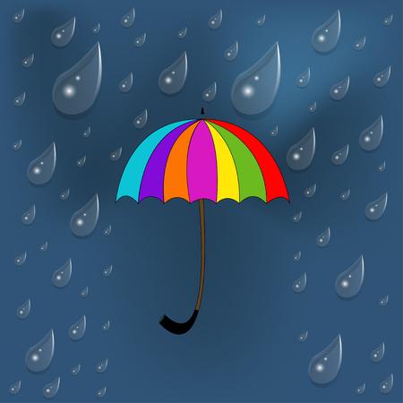 sotto la pioggia: ombrello colorato sotto la pioggia Archivio Fotografico
