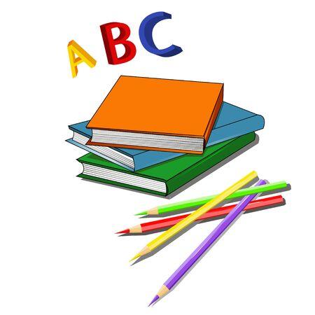 multi: Set of multi colored books.