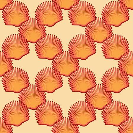 scallop: Scallop seashell semless pattern on background. illustration.