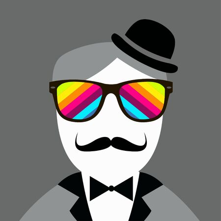 snobby: Vintage silhouette of hat, mustaches, bow tie - illustration.