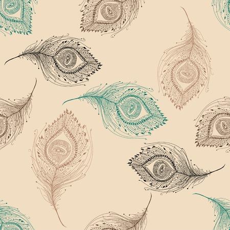 pluma de pavo real: Pluma del pavo real patrón sin fisuras en el fondo.