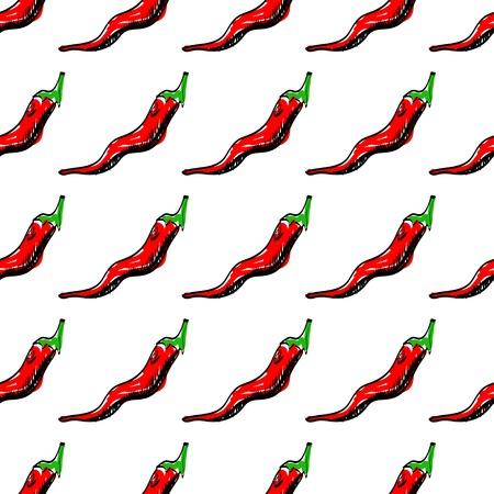 naadloze achtergrond met chili pepers. illustratie