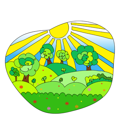 agrarian: Hand drawn vector landscape with agrarian fields, village and mountains Stock Photo