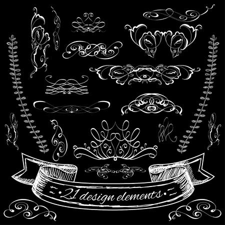 calligraphic design: set of calligraphic design elements.