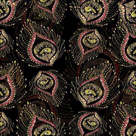 piuma di pavone: piuma di pavone in sfondo nero.