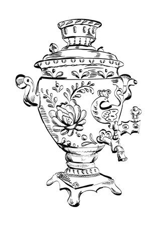 samovar: Russian samovar, sketch, tea, illustration