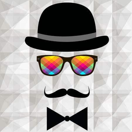 snobby: Vintage silhouette of top hat, mustaches, bow tie -illustration. Stock Photo