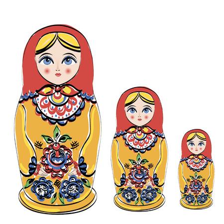 matroushka: Russian tradition matryoshka dolls. illustration Stock Photo