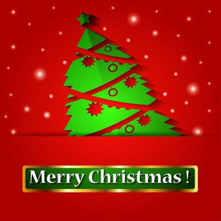 christmas tree illustration: Christmas origami tree. illustration