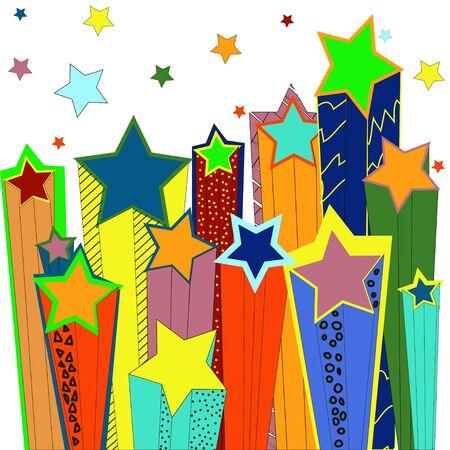 3d star: Shooting stars. illustration. Stock Photo
