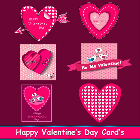 gift card: happy valentines day cards set with ornaments, hearts, ribbon, birds and arrow
