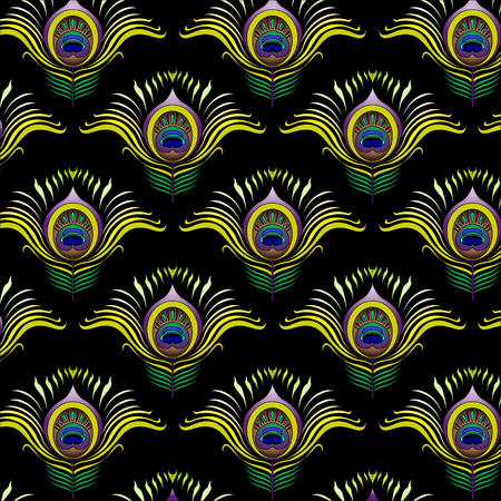 peacock: Peacock feathers vector seamless pattern background.