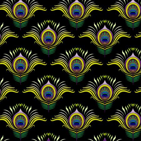 pluma de pavo real: Plumas del pavo real vector de fondo sin fisuras patrón.
