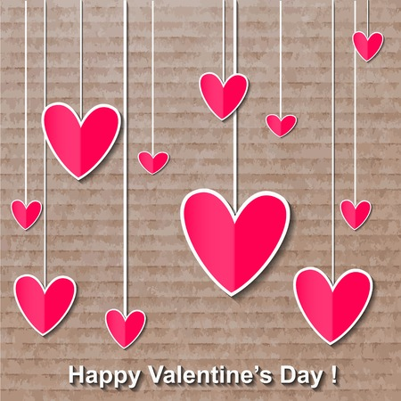 decorative card symbols: happy valentines day colourful card. illustration. Stock Photo