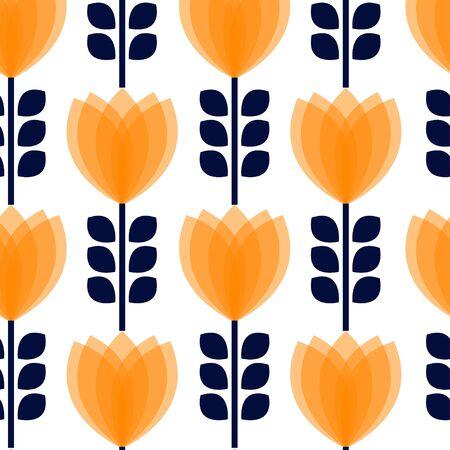 petal: Floral pattern with orange petal on white background.
