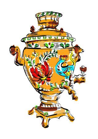 samovar: Russian colorful samovar, sketch, tea, illustration