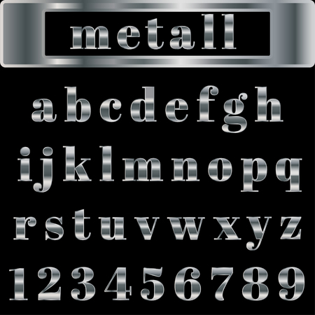 silver bullion: The silver alphabet with black background.