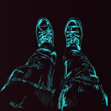 Legs in gumshoes. illustration.