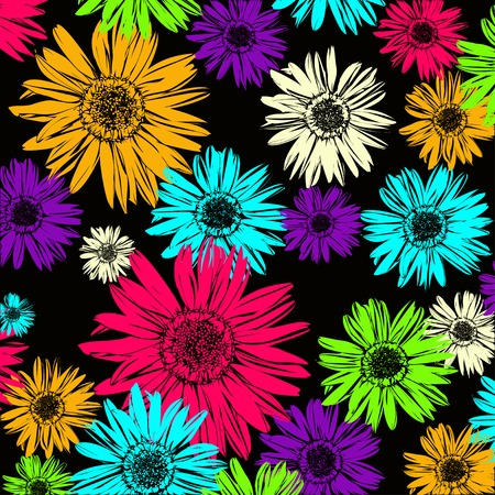 butterflies for decorations: Pattern with abstract flowers daisy, Illustration