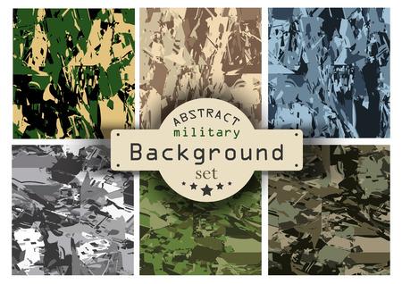 Camouflage military background set. Vector illustration