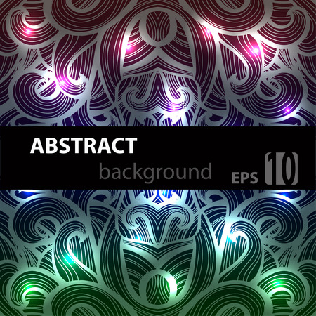 Abstract disco glowing ornament of background. Vector illustration. EPS